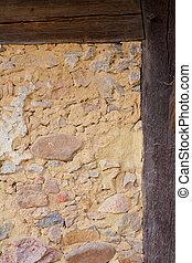 storico, mezzo-costruito legno, parete, dettaglio