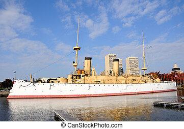 storico, nave guerra, u.s.s, olimpia, a, filadelfia, zona...