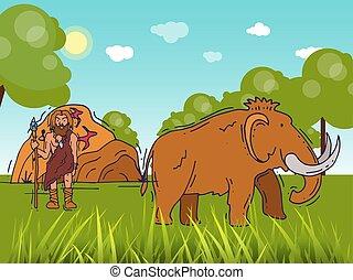 storico, neanderthal, standing, antico, primitivo, umano, abitante, cartone animato, caverna, lancia, campo, cave., stoneage, manifesto, illustration., caveman, vettore, anciently, mammut