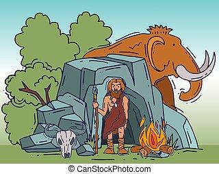 storico, neanderthal, standing, suo, antico, primitivo, umano, abitante, cartone animato, caverna, lancia, manifesto, illustration., caveman, vettore, stoneage., anciently, caverna, mammut