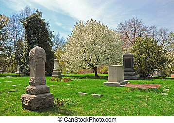 storico, primavera, boschetto, cimitero, in, cincinnati, ohio, stati uniti