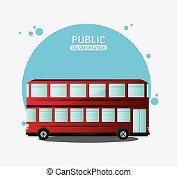 storied, autobus, due, rosso, trasporto pubblico