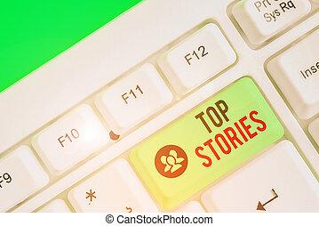 stories., 前面, 簽署, 跑, 正文, 主要, 相片, 頂部, 故事, 頁, 報紙。, 概念性, 顯示