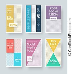 Stories template with geometric illustration, place for photo, banner for special offer, discounts, business promotion.