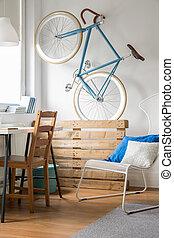 Storing bike in room