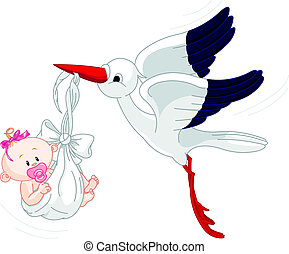 Stork And Baby - A cartoon illustration of a stork...