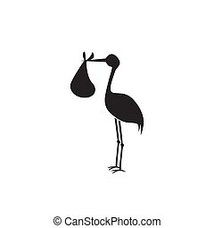 stork and baby black on white background
