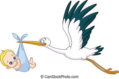 Stork and baby boy - Stork carrying a baby boy