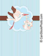 Stork and Baby boy place card