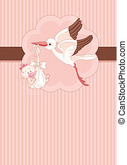 Stork and Baby girl place card - A place card of a stork ...