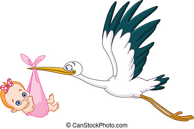Stork and baby girl - Stork carrying a baby girl