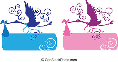 Stork and baby for girl and boy silhouettes