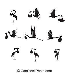 stork and baby set black on white background