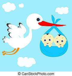 cheerful stork transfers in flight newborn baby boys