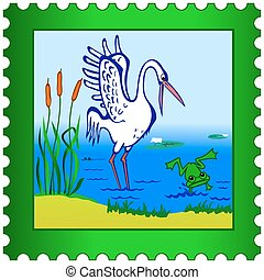 Stork and Frog postage stamp - Stork and frog on a postage...