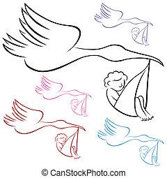 stork, bärande, baby