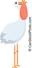 Stork baby bag icon, cartoon style