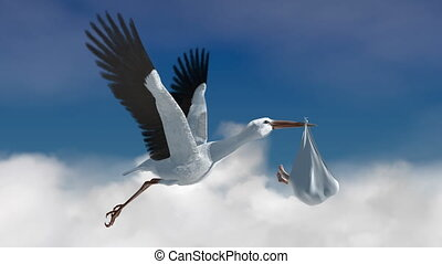 Classic depiction of a stork in flight delivering a newborn baby