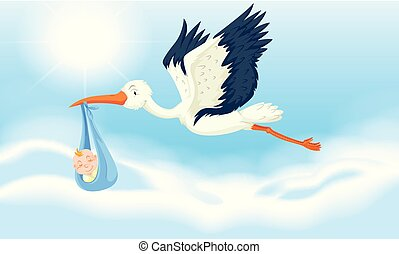 Stork baby delivering newborn boy