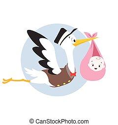 Stork Baby - Vector cartoon illustration of a stork carrying...
