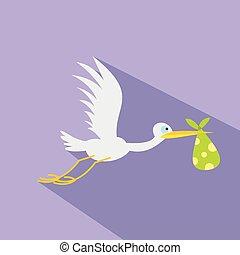 Stork baby flat icon