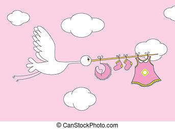 stork, baby pige, klæder