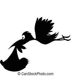 stork, baby, silhuetter, vektor
