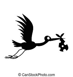 Stork baby simple icon