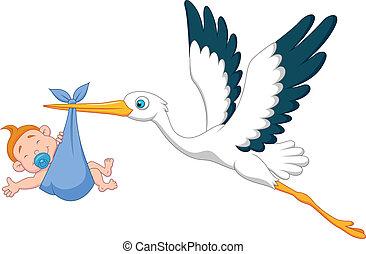 stork, baby, tecknad film, pojke