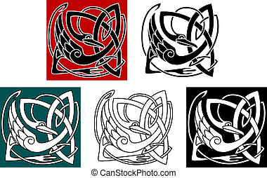 Stork bird in celtic ornament