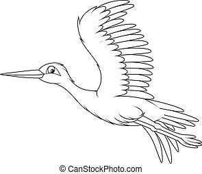 Black and white vector illustration of a stork flying