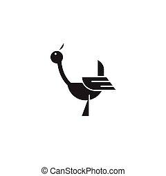Stork black vector concept icon. Stork flat illustration, sign
