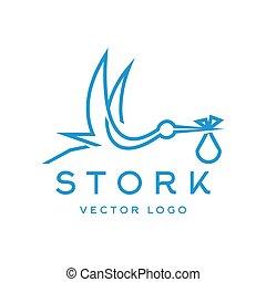 Stork brings baby, trendy brand logos outline - Stork brings...