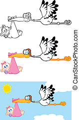 Stork Carrying A Baby Girl Cartoon Characters Set Collection...