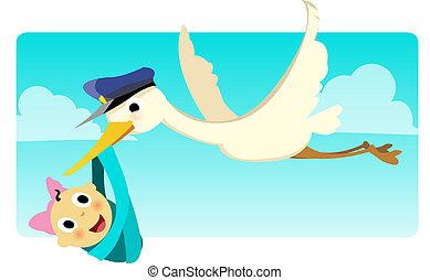 Stork Carrying Baby Girl_stock