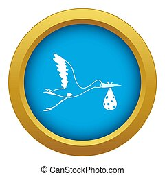 Stork carrying icon blue isolated