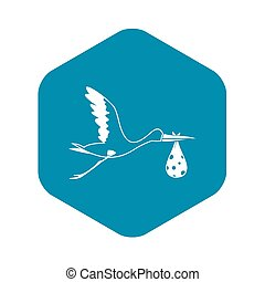 Stork carrying icon, simple style