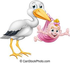 Stork Cartoon Pregnancy Myth Bird With Baby Girl