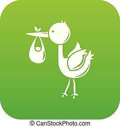Stork child icon green vector