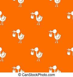Stork child pattern orange