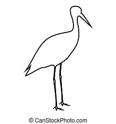 Stork ciconia icon black color illustration flat style simple image