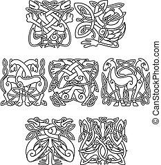 Stork, crane and heron birds celtic ornaments for design,...