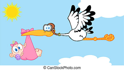 Stork Delivering A Baby Girl
