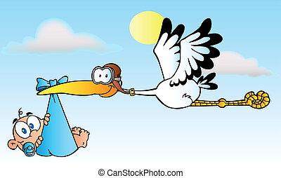Stork Delivering A Newborn Baby Boy - Baby Adoption Stork...