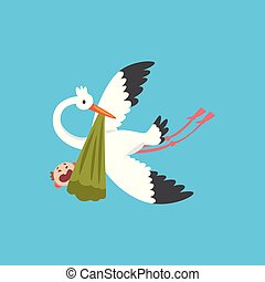 Stork delivering a newborn baby, flying bird carrying a bundle with crying kid, template for baby shower banner, invitation, poster, greeting card vector Illustration