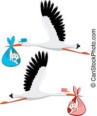 Stork delivering a newborn baby girl and boy