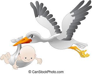 Illustration of a flying stork delivering a newborn baby