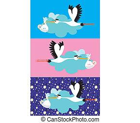 Stork delivering a newborn