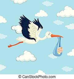 Stork delivering baby boy