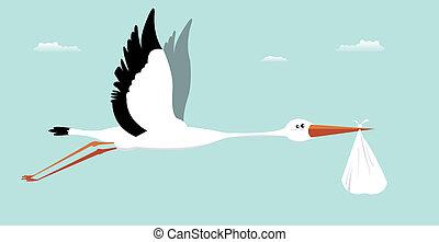 Illustration of a stork delivering bag for boy birth